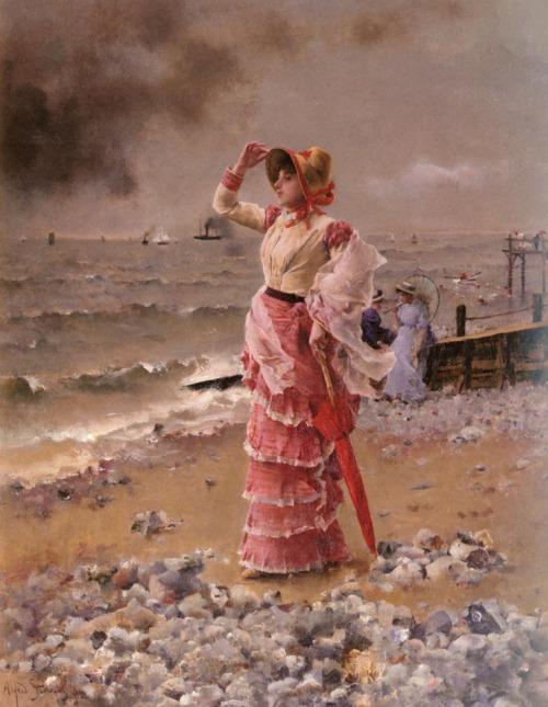 Alfred STEVENS - Femme Elégante Voyant Filer Un Vapeur