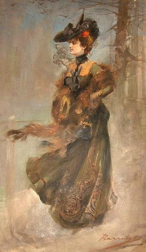 William H. Barribal - Elegant Lady Standing Full Length