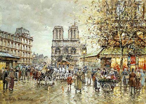 Antoine BLANCHARD - Place Saint Michel et Notre-Dame par jour de Pluie
