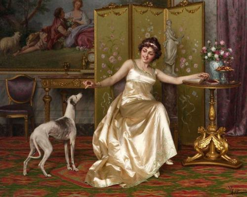 Vittorio Reggianini - Woman Reading With an Italian Greyhound at Her Side