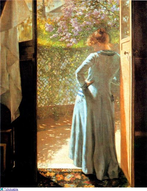 William Henry Margetson - At The Cottage Door