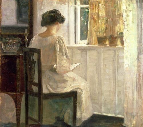 Carl Vilhelm Holso - Woman Reading at a Sunlit Window