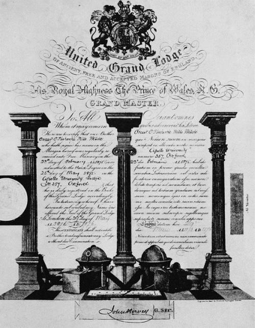 PIERRE  Certificat Maçonnique de Wilde
