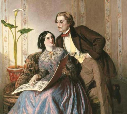 Rebecca Solomon - A Fashionable Couple-1854