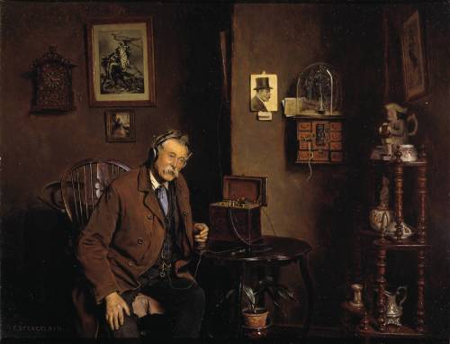 Listening In exhibited 1933 Charles Spencelayh 1865-1958 Bequeathed by Alice Creed 2001 http://www.tate.org.uk/art/work/T07729