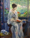 Ulisse Caputo – A Woman Reading Seated By an OpenWindow